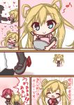 2girls :d =_= ^_^ abukuma_(kantai_collection) admiral_(kantai_collection) apron bangs black_legwear black_shirt blonde_hair blue_eyes blush blush_stickers bowl box brown_eyes closed_eyes closed_mouth comic commentary_request double_bun eyebrows_visible_through_hair frilled_apron frills gift gift_box grey_footwear grey_skirt hair_between_eyes hair_rings heart heart-shaped_box holding holding_bowl holding_gift kantai_collection kinu_(kantai_collection) komakoma_(magicaltale) long_hair multiple_girls musical_note nose_blush open_mouth pink_apron pleated_skirt purple_hair quaver school_uniform serafuku shirt side_bun silhouette skirt smile thigh-highs translation_request twintails valentine very_long_hair