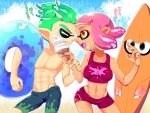 +_+ 1boy 1girl :d bikini breasts domino_mask fangs food green_hair ice_cream ice_cream_cone inkling innertube male_swimwear mask minamidena noses_touching open_mouth orange_eyes paint_splatter pink_hair pointy_ears shirtless short_hair smile splatoon splatoon_2 stomach surfboard swim_trunks swimsuit swimwear symbol-shaped_pupils tentacle_hair translation_request
