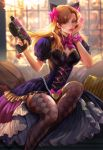 1girl alternate_costume animal_ears argyle argyle_legwear backlighting black_cat_d.va bow bracelet breasts brown_eyes brown_hair cat_ears cleavage commentary corset d.va_(overwatch) detached_collar earrings gothic_lolita gun hair_bow handgun heart heart_earrings highres holding holding_gun holding_weapon jewelry lips lolita_fashion long_hair long_skirt looking_at_viewer medium_breasts nose overwatch pinky_out pistol puffy_short_sleeves puffy_sleeves short_sleeves showgirl_skirt skirt slender_waist solo thigh-highs weapon whisker_markings yang_fan