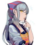 1girl apron chocolate commentary_request finger_licking food_on_finger grey_hair kantai_collection kerchief licking long_hair looking_at_viewer sailor_collar sailor_shirt shinkaisei-kan shirt sidelocks solo ta-class_battleship tied_hair tongue tongue_out upper_body walzrj white_background yellow_eyes