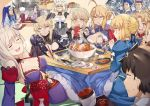 4boys 6+girls ahoge apron archer armor artoria_pendragon_(all) artoria_pendragon_(lancer) artoria_pendragon_(lancer_alter) assassin_(fate/stay_night) blonde_hair breasts cape chopsticks cleavage eating fate/grand_order fate_(series) fish fujimaru_ritsuka_(male) fur_cape jeanne_d'arc_(alter)_(fate) jeanne_d'arc_(fate)_(all) lancelot_(fate/grand_order) lancer maid minamoto_no_raikou_(fate/grand_order) miyamoto_musashi_(fate/grand_order) mordred_(fate) mordred_(fate)_(all) multiple_boys multiple_girls multiple_persona nanaya_(daaijianglin) saber saber_alter table