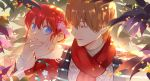 blonde_hair blue_eyes couple gintama hair_between_eyes kagura_(gintama) maosen okita_sougo open_mouth parted_lips red_eyes red_scarf redhead scarf short_hair smile upper_body