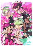 +_+ 4girls :d ;d aori_(splatoon) black_gloves black_hair black_jumpsuit black_shirt black_skirt closed_eyes cousins crop_top crown detached_collar domino_mask dress fangs fingerless_gloves food food_on_head gloves green_hair green_legwear green_nails grey_hair grin headphones hime_(splatoon) hotaru_(splatoon) iida_(splatoon) instrument leaning_forward long_hair looking_at_another mask mole mole_under_eye mole_under_mouth multicolored_hair multiple_girls music nail_polish object_on_head octarian one_eye_closed open_mouth pink_dress pink_hair playing_instrument pointy_ears purple_hair purple_legwear shirt short_hair short_jumpsuit skirt sleeveless sleeveless_dress sleeveless_shirt smile splatoon splatoon_1 splatoon_2 squid_pose standing strapless strapless_dress sushi tentacle_hair two-tone_hair white_gloves white_hair wong_ying_chee