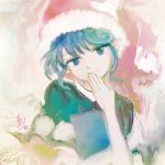 1girl blue_eyes blue_hair book doremy_sweet fringe hand_to_own_mouth hat katari looking_at_viewer signature smile solo touhou traditional_media