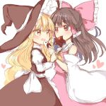 2girls :d apron bare_shoulders black_dress blonde_hair blouse blush bow brown_hair chocolate detached_sleeves dress eye_contact feeding hair_bow hair_ribbon hair_tubes hakurei_reimu hat highres juliet_sleeves kirisame_marisa long_hair long_sleeves looking_at_another mouth_hold multiple_girls open_mouth puffy_sleeves red_eyes ribbon ribbon-trimmed_sleeves ribbon_trim sketch skirt smile star touhou valentine very_long_hair waist_apron wavy_hair wavy_mouth wide_sleeves witch_hat wrist_grab yellow_eyes yin_yang_orb yuri yururi_nano