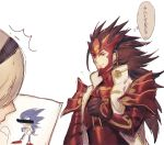 1boy 1girl armor blue_cape brown_eyes brown_hair cape female_my_unit_(fire_emblem_if) fire_emblem fire_emblem_if hair_between_eyes hair_ornament hairband kokutan_kitsunen long_hair male_focus mamkute my_unit_(fire_emblem_if) pointy_ears ryouma_(fire_emblem_if) silver_hair smile sonic sonic_the_hedgehog white_hair