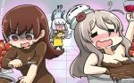 !? 3girls alcohol apron black_legwear blush brown_eyes brown_hair chocolate closed_eyes commentary_request cup drinking_glass drooling drunk empty_eyes hair_ribbon hamu_koutarou hat headgear highres kantai_collection long_hair mini_hat multiple_girls murakumo_(kantai_collection) ooi_(kantai_collection) open_mouth pantyhose pola_(kantai_collection) red_ribbon ribbon silver_hair smile translation_request tress_ribbon white_hat wine wine_glass yellow_apron