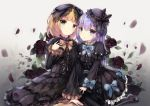 2girls :o bangs black_bow black_dress black_footwear black_hat black_legwear blonde_hair blue_bow blue_eyes blue_ribbon blush bow brown_ribbon closed_mouth commentary_request dress eyebrows_visible_through_hair flower gochuumon_wa_usagi_desu_ka? gothic_lolita green_eyes grey_background hair_between_eyes hair_bow hat highres kafuu_chino kirima_sharo lolita_fashion long_hair long_sleeves looking_at_viewer mary_janes mini_hat missile228 multiple_girls pantyhose parted_lips petals purple_flower purple_hair purple_rose ribbon rose rose_petals shoes sitting striped striped_bow striped_legwear striped_ribbon vertical-striped_legwear vertical_stripes very_long_hair wide_sleeves