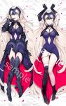 1girl armor armored_boots arms_up asymmetrical_legwear black_panties blush boots breasts capelet catsizuru chains dakimakura dress elbow_gloves fate/grand_order fate_(series) faulds finger_to_mouth fur-trimmed_gloves fur-trimmed_legwear fur_trim gauntlets gloves headpiece highres jeanne_alter jeanne_d'arc_(alter)_(fate) jeanne_d'arc_(fate)_(all) large_breasts long_hair lying multiple_views open_mouth pale_skin panties panty_pull petals purple_dress ruler_(fate/apocrypha) sample side-tie_panties silver_hair single_thighhigh thigh-highs tongue tongue_out underwear yellow_eyes