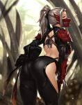 1girl arched_back armor ass back back_cutout bow breasts from_behind hair_bow hand_on_hip hand_on_own_thigh highres houtengeki knot large_breasts long_hair looking_at_viewer looking_back mask monster_hunter monster_hunter:_world odogaron_(armor) outdoors pauldrons ponytail silver_hair solo standing yellow_eyes