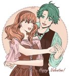 1boy 1girl alm_(fire_emblem) artist_request celica_(fire_emblem) couple dress fire_emblem fire_emblem_echoes:_mou_hitori_no_eiyuuou green_eyes green_hair highres long_hair open_mouth red_eyes redhead smile