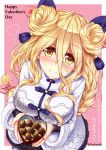 1girl :o blonde_hair bow braid breasts chocolate date_a_live double_bun floral_print fur_trim gift hair_between_eyes hair_bow heart-shaped_box highres holding holding_gift hoshimiya_mukuro large_breasts lavender_dress long_hair purple_ribbon ribbon ribbon-trimmed_dress smile solo star translation_request tsubasaki valentine very_long_hair yellow_eyes