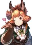 1girl animal_ears arm_at_side bangs blown_kiss blurry bow bowtie breasts brown_eyes brown_gloves cape cleavage depth_of_field diamond_(shape) elbow_gloves erun_(granblue_fantasy) eyebrows eyelashes facing_away gloves granblue_fantasy green_bow green_cape green_neckwear hand_up heart high_ponytail hood hood_down hooded_cape karuteira looking_away one_eye_closed orange_hair parted_lips reiesu_(reis) short_hair simple_background small_breasts solo upper_body white_background