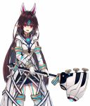 1girl :d armlet bandage bandaged_arm bandaged_leg bangs black_nails black_skirt blue_hair breasts brown_hair cowboy_shot earrings fox_mask garter_straps gem hammer highres holding holding_weapon jewelry kasane_(xenoblade) legs_apart long_hair looking_at_viewer mask mask_on_head medium_breasts nail_polish natsuyuki open_mouth pink_eyes pointy_ears rope short_sleeves skirt slit_pupils smile solo standing straight_hair two-handed underbust very_long_hair waist_cape weapon xenoblade_2