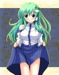 1girl bangs bare_shoulders big_eyes blue_skirt blush breasts cowboy_shot cropped_legs eyebrows_visible_through_hair green_eyes green_hair hair_between_eyes hair_ornament hair_ribbon hands_up holding kinagi_yuu kochiya_sanae large_breasts lifted_by_self long_hair long_sleeves looking_at_viewer multicolored multicolored_background multicolored_clothes open_mouth patterned_clothing ribbon skirt skirt_hold skirt_lift smile solo standing thigh_gap touhou
