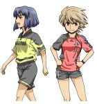 2girls adidas blue_eyes blue_hair borussia_dortmund brown_eyes brown_hair commentary_request multiple_girls nike open_mouth original short_hair smile soccer soccer_uniform sportswear standing thomas_107