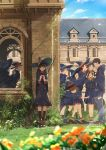 1boy boots box broom brown_hair building cape commentary_request day falling flower gift gift_box glasses hat highres multiple_girls nervous original outdoors school somehira_katsu standing valentine witch witch_hat