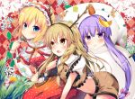 3girls alice_margatroid antlers argyle argyle_background black_hairband blonde_hair blue_eyes blush bow braid breasts brown_eyes brown_shirt brown_shorts cleavage crop_top dress eyebrows_visible_through_hair fake_antlers frilled_hairband hair_between_eyes hair_bow hairband kirisame_marisa light_brown_hair long_hair masa_(miyabitei) midriff moon multiple_girls patchouli_knowledge polka_dot polka_dot_dress polka_dot_hairband purple_hair red_dress red_hairband shirt short_hair short_shorts short_sleeves shorts small_breasts snowman_costume touhou twintails very_long_hair
