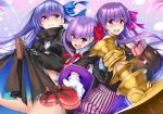 3girls bb_(fate/extra_ccc) blue_eyes blush box breasts chocolate chocolate_heart coat fate/extra fate/extra_ccc fate/grand_order fate_(series) gift gift_box gloves hair_ribbon heart heart-shaped_pupils large_breasts long_hair meltlilith multiple_girls open_mouth passion_lip piromizu purple_hair ribbon sleeves_past_wrists sweatdrop symbol-shaped_pupils tears valentine violet_eyes white_gloves
