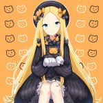 1girl abigail_williams_(fate/grand_order) bangs black_bow black_dress black_hat blonde_hair bloomers blue_eyes blush bow brown_background butterfly closed_mouth commentary_request dress eyebrows_visible_through_hair fate/grand_order fate_(series) forehead hair_bow hat head_tilt long_hair long_sleeves looking_at_viewer object_hug orange_bow parted_bangs polka_dot polka_dot_bow rocm_(nkkf3785) sleeves_past_fingers sleeves_past_wrists smile solo stuffed_animal stuffed_toy teddy_bear underwear very_long_hair white_bloomers