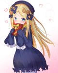 1girl abigail_williams_(fate/grand_order) bangs black_bow black_dress black_hat blonde_hair bloomers blue_eyes blush bow box butterfly commentary_request dress eyebrows_visible_through_hair fate/grand_order fate_(series) gift gift_box gradient gradient_background hair_bow hat heart holding holding_gift long_hair long_sleeves looking_at_viewer masen orange_bow parted_bangs pink_background polka_dot polka_dot_bow sleeves_past_fingers sleeves_past_wrists solo sparkle underwear very_long_hair white_background white_bloomers