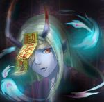 1boy absurdres bandage blonde_hair blood blue_skin eyepatch fang fire highres horns japanese_clothes kimono long_hair male_focus onmyoji open_mouth pointy_ears portrait red_eyes solo tiaotiaogege