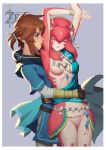 1boy 1girl absurdres arms_around_waist arms_up breasts brown_hair cleavage cloak closed_eyes earrings fingerless_gloves gloves highres jewelry jolker link mipha necklace sash short_ponytail smile the_legend_of_zelda the_legend_of_zelda:_breath_of_the_wild tiara