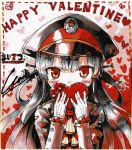 1girl bangs black_hair black_hat black_jacket blush box commentary_request cura eyebrows_visible_through_hair gift gift_box gloves hachiroku_(maitetsu) hair_between_eyes hair_ornament hair_rings happy_valentine hat heart heart-shaped_box highres holding holding_gift jacket long_hair long_sleeves looking_at_viewer maitetsu peaked_cap red_eyes solo valentine very_long_hair white_gloves
