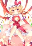 1girl blonde_hair blush commentary_request crystal dress flandre_scarlet full_body gift hair_between_eyes hat hat_ribbon heart heart-shaped_pupils heart_background heart_pillow highres holding holding_gift knees_together_feet_apart looking_at_viewer medium_hair miy@ mob_cap panties pantyshot pillow red_dress red_eyes red_ribbon ribbon ribbon-trimmed_dress side_ponytail sitting_on_pillow smile solo star star_print symbol-shaped_pupils touhou underwear valentine white_panties wings