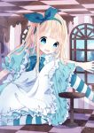 1girl alice_(wonderland) alice_in_wonderland apron bangs blonde_hair blue_bow blue_dress blue_eyes blue_hairband blue_ribbon blue_sky blush bow checkered checkered_ceiling checkered_floor clouds commentary_request day dress drink_me fingernails frilled_apron frills giantess glass_bottle hair_ribbon hairband highres indoors key long_hair maid_apron one_knee open_mouth original pantyhose puffy_short_sleeves puffy_sleeves ribbon short_sleeves sidelocks sky solo striped striped_legwear table vertical_stripes very_long_hair wavy_mouth white_apron window zantei_hanako
