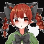 1girl abe_suke animal_ears bangs black_bow black_neckwear bow bowtie braid cat_ears eyebrows_visible_through_hair hair_bow kaenbyou_rin long_hair looking_at_viewer lowres pointy_ears red_eyes redhead solo touhou twin_braids upper_body