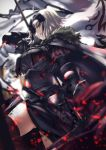 1girl :q armor armored_dress banner black_cape black_dress black_legwear cape dress fate/grand_order fate_(series) fur_trim gauntlets highres holding holding_weapon jeanne_d'arc_(alter)_(fate) jeanne_d'arc_(fate)_(all) looking_at_viewer silver_hair solo thigh-highs tongue tongue_out tsuuhan weapon yellow_eyes
