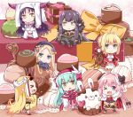>_o 1boy 6+girls abigail_williams_(fate/grand_order) ahoge aqua_hair astolfo_(fate) black_bow black_dress black_hair blonde_hair blue_eyes bow box braid chibi chocolate commentary_request detached_sleeves dress epaulettes eyebrows_visible_through_hair facial_mark fang fate/grand_order fate_(series) forehead_mark fur_trim gift gift_box green_eyes hair_between_eyes hat headdress horns ibaraki_douji_(fate/grand_order) jitome kiyohime_(fate/grand_order) long_dress long_hair looking_at_viewer multiple_girls nero_claudius_(fate) nero_claudius_(fate)_(all) one_eye_closed oni_horns orange_bow pink_hair pointy_ears rabbit red_dress rioshi saber_extra semiramis_(fate) sesshouin_kiara single_braid sleeves_past_wrists smile stuffed_animal stuffed_toy teddy_bear trap valentine very_long_hair violet_eyes witch_hat yellow_eyes