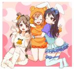 3girls animal_costume animal_ears artist_request bangs bear_costume bell bell_collar blue_hair blue_legwear bunny_costume bunny_tail closed_eyes collar commentary_request grey_hair hair_between_eyes horns kneeling kousaka_honoka long_hair looking_at_viewer love_live! love_live!_school_idol_project minami_kotori multiple_girls one_eye_closed one_side_up open_mouth orange_hair rabbit_ears ribbon sheep_costume sheep_ears sheep_horns simple_background sitting smile sonoda_umi tail thigh-highs yellow_eyes