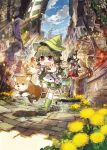 animal animal_ears armor black_hair blue_sky blush_stickers boots brown_eyes cat_ears clouds dog fang fantasy flower groundsel hat highres konno_takashi market open_mouth original red_eyes scenery shiba_inu shorts skirt sky smile tail tomato violet_eyes