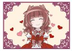 1girl ^_^ bangs blunt_bangs bow brown_hair closed_eyes commentary_request curly_hair dress frilled_dress frills hair_bow hair_ornament hair_ribbon heart kinoshita_sakura lolita_fashion long_hair long_sleeves original puffy_long_sleeves puffy_sleeves ribbon smile solo striped striped_bow