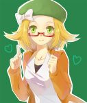 1girl bel_(pokemon) beret blonde_hair blush breasts commentary_request dress flipped_hair green_eyes green_hat hat medium_hair pokemon pokemon_(game) pokemon_bw2 solo zyllion