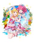 2girls :d aikatsu! aikatsu_stars! bangs bare_shoulders blonde_hair blue_eyes bow bracelet branch clouds cloudy_sky crop_top day drill_hair earrings eye_contact eyebrows_visible_through_hair flower flower_request frills gradient_hair hair_bow hairband hand_holding headdress heart heart_earrings high_heels highres idol jewelry lily_(flower) long_hair looking_at_another midriff multicolored_hair multiple_girls nail_polish navel nijino_yume ocean open_mouth pink_hair sakuraba_rola scrunchie skirt sky sleeveless smile song_name toenail_polish twintails yone