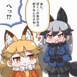 2girls animal_ears blonde_hair blush bow bowtie brown_hair ezo_red_fox_(kemono_friends) fox_ears jacket kemono_friends long_hair multiple_girls open_mouth silver_fox_(kemono_friends) silver_hair simple_background tanaka_kusao translation_request white_background