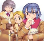 3girls bag bangs baozi blonde_hair blowing blue_hair blush breasts brown_coat brown_hair closed_mouth coat collared_shirt cup dress_shirt eating eyebrows_visible_through_hair eyes_visible_through_hair fat_step-sister_(orizen) food green_hair hair_between_eyes hair_over_eyes half_updo head_tilt holding large_breasts long_sleeves looking_at_another multiple_girls neck_ribbon original orizen own_hands_together paper_bag parted_bangs puckered_lips purple_ribbon red_ribbon red_scarf ribbon scarf shirt short_hair steam takoyaki toothpick white_background white_shirt wing_collar