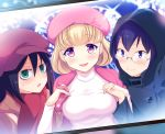 3girls :d bags_under_eyes beret black_hair blonde_hair blue_eyes blue_hair blush breasts cabbie_hat christmas coat commentary_request cursive english girl_sandwich glasses gloves green_eyes hakka0320 hand_holding hat headwear_writing hooded_coat komiyama_kotomi kuroki_tomoko large_breasts multiple_girls naruse_yuu open_mouth pink_eyes pink_gloves pink_hat polka_dot polka_dot_gloves sandwiched short_hair smile sweatdrop triangle_mouth turtleneck watashi_ga_motenai_no_wa_dou_kangaetemo_omaera_ga_warui!