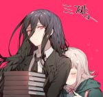 1boy 1girl black_hair black_jacket blush book_stack carrying character_request closed_mouth collared_shirt danganronpa hair_between_eyes hair_ornament hairpin hood hood_down jacket long_hair looking_at_viewer nanami_chiaki neck_ribbon open_clothes open_jacket parted_lips pink_background pink_hair red_neckwear red_ribbon ribbon shirt short_hair simple_background sleeping super_danganronpa_2 translation_request upper_body wing_collar zuizi