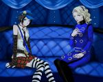 2girls bare_shoulders bell bell_choker black_hair blonde_hair blue_eyes cabbie_hat choker coat couch elbow_gloves gloves hairband hand_on_own_chest hat hshs long_hair margaret_(persona) marie_(persona_4) multiple_girls necktie pantyhose persona persona_4 persona_4_the_golden plaid plaid_skirt pleated_skirt short_hair sitting skirt sleeveless striped striped_legwear thigh-highs yellow_eyes