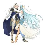 2girls absurdres aqua_(fire_emblem_if) barefoot dancing female_my_unit_(fire_emblem_if) fire_emblem fire_emblem_if highres multiple_girls my_unit_(fire_emblem_if) pointy_ears ticcy yuri