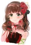 1girl bangs bare_shoulders black_gloves black_ribbon blue_eyes blush brown_hair choker dress eyebrows_visible_through_hair gloves hairband hand_on_own_cheek highres idolmaster idolmaster_cinderella_girls idolmaster_cinderella_girls_starlight_stage looking_at_viewer love_destiny neck_ribbon red_dress red_ribbon ribbon rose_earrings sakuma_mayu short_hair simple_background smile solo thorns tomato_omurice_melon upper_body white_background
