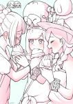 5girls blush braid closed_eyes feeding hat hikari_(pokemon) lillie_(pokemon) long_hair malasada mizuki_(pokemon_sm) mizuki_(pokemon_ultra_sm) monochrome multiple_girls notori_d open_mouth pokemon pokemon_(creature) pokemon_(game) pokemon_dppt pokemon_sm pokemon_ultra_sm popplio rowlet shirona_(pokemon) shirt short_hair short_sleeves simple_background sun_hat tank_top tied_shirt twin_braids wristband yuri z-ring