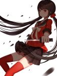 1girl black_hair black_skirt danganronpa harukawa_maki highres holding holding_knife knife kouta_hann long_hair new_danganronpa_v3 red_eyes red_legwear skirt solo standing thigh-highs twintails