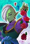 1boy blue_background dragon_ball dragon_ball_super earrings egyptian_clothes expressionless flower green_skin grey_eyes jewelry long_sleeves looking_at_viewer male_focus mohawk outstretched_hand petals pointy_ears red_flower red_rose rose serious shaded_face simple_background white_hair zamasu