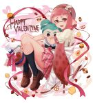 1girl bangs beaker black_legwear blouse blunt_bangs brown_legwear casual character_doll chocolate cookie dated disruptor_(splatoon) domino_mask english fangs food from_side hair_ornament hairband happy_valentine heart heart-shaped_pupils holding holding_stuffed_toy holding_weapon inkling invisible_chair loafers long_hair looking_at_viewer mask mimimi_(echonolog) miniskirt open_mouth pink_eyes pink_hair pink_skirt plaid plaid_skirt pleated_skirt pointy_ears pretzel puffy_short_sleeves puffy_sleeves red_hairband shoes short_sleeves sitting skirt smile socks solo splatoon splatoon_1 squid symbol-shaped_pupils tentacle_hair weapon white_blouse
