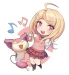 1girl :3 :d ahoge akamatsu_kaede backpack bag bangs beamed_quavers black_legwear blonde_hair blush chibi closed_eyes crossover danganronpa eyebrows_visible_through_hair kneehighs long_hair long_sleeves looking_at_viewer miniskirt musical_note musical_note_hair_ornament musical_note_print necktie new_danganronpa_v3 open_mouth orange_neckwear outstretched_arms pleated_skirt pokemon pokemon_(creature) print_skirt purple_skirt quaver round_teeth shiny shiny_hair shirt skirt skitty smile sweater_vest swept_bangs teeth violet_eyes white_shirt zuizi